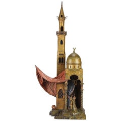Austrian Cold Painted Bronze Minaret Lamp by Franz Bergman