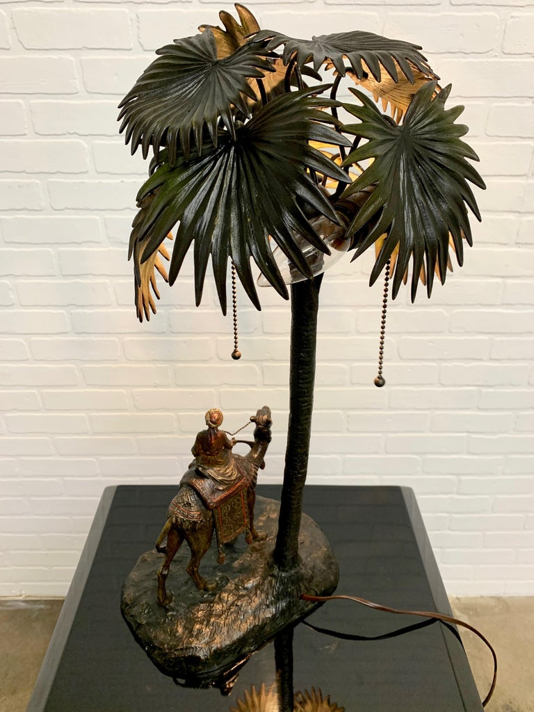 Austrian Cold Painted Bronze Orientalist Lamp Attributed to Bergman For Sale 8