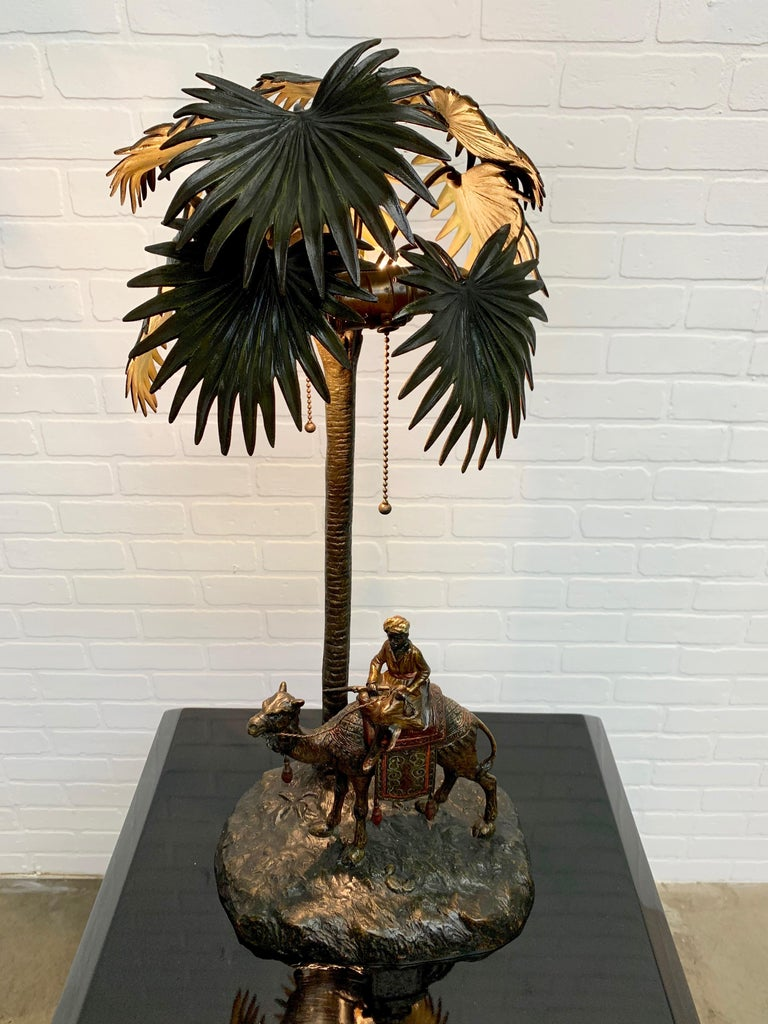 Cold-Painted Austrian Cold Painted Bronze Orientalist Lamp Attributed to Bergman For Sale