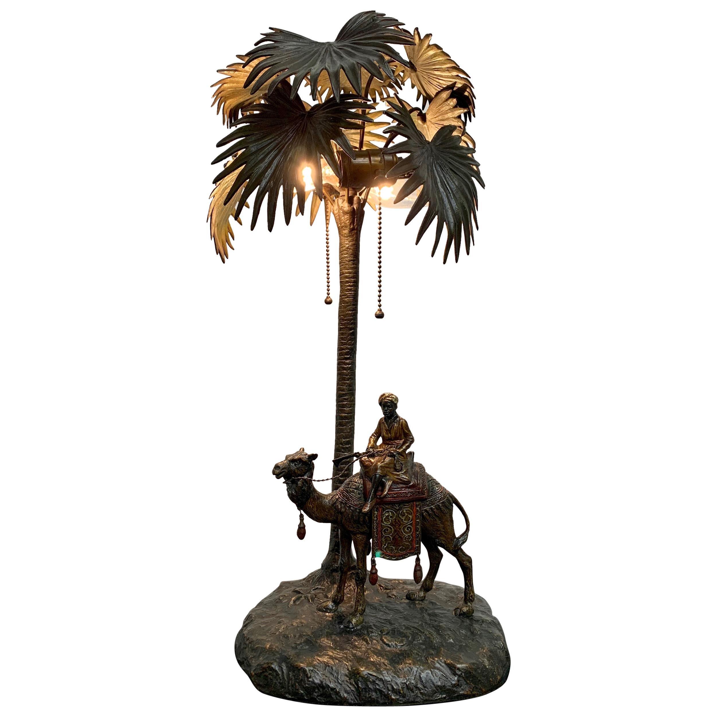 Austrian Cold Painted Bronze Orientalist Lamp Attributed to Bergman