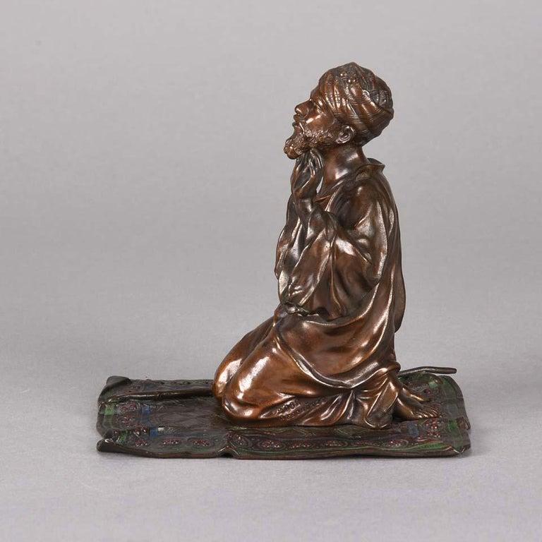 Cast Austrian Cold Painted Bronze 'Praying Arab' by Franz Bergman For Sale