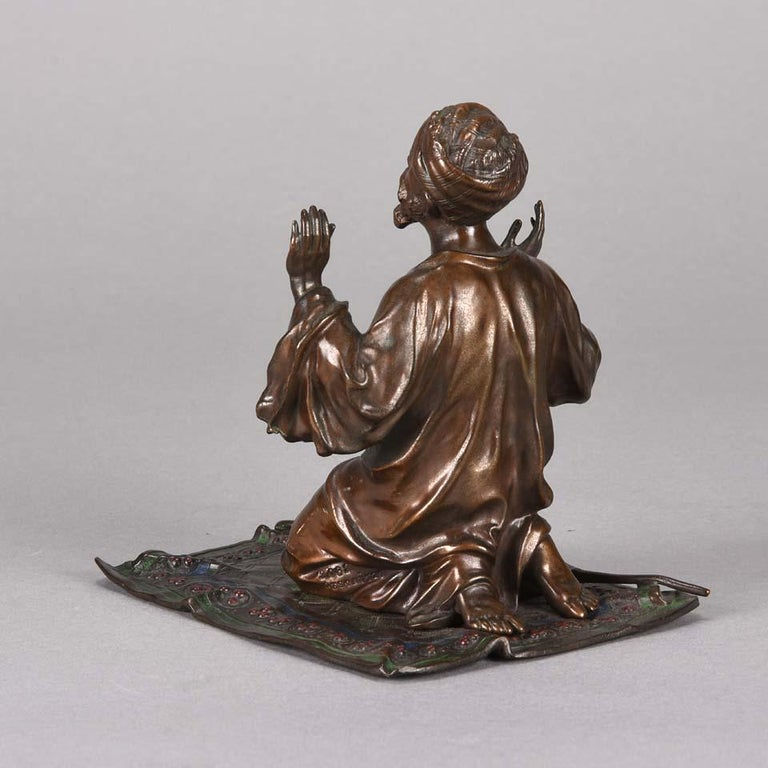 Austrian Cold Painted Bronze 'Praying Arab' by Franz Bergman In Excellent Condition For Sale In London, GB