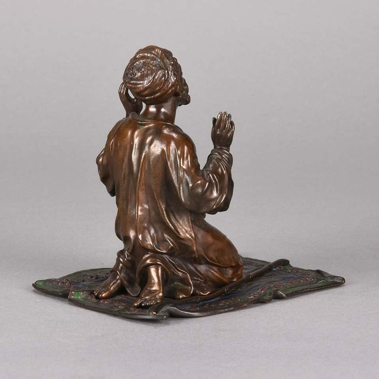Austrian Cold Painted Bronze 'Praying Arab' by Franz Bergman For Sale 1