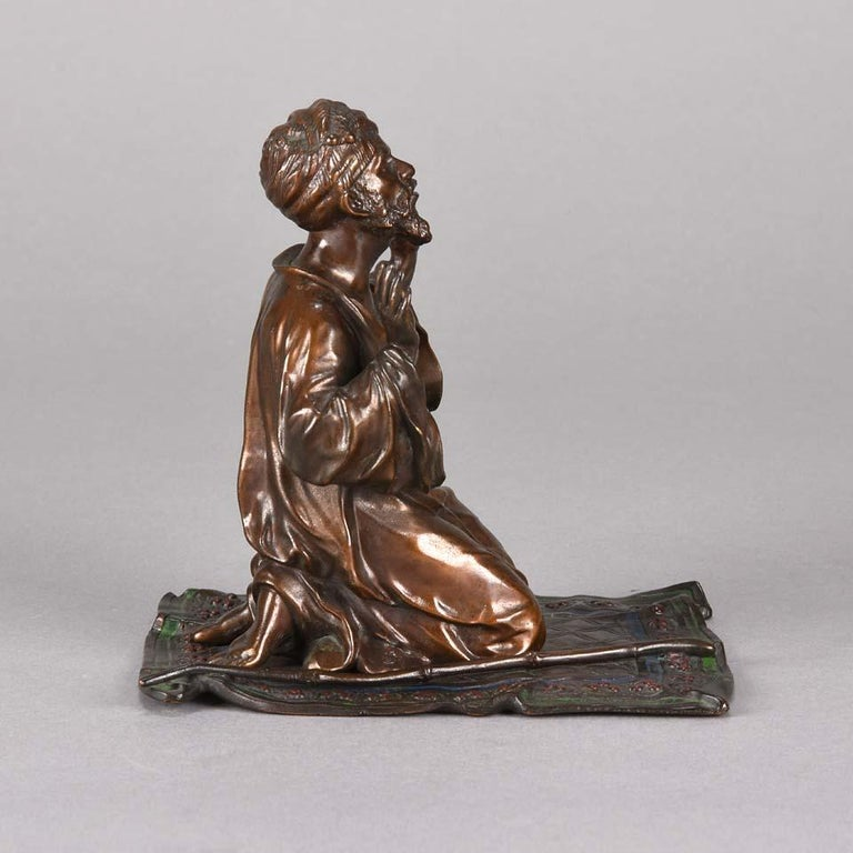 Austrian Cold Painted Bronze 'Praying Arab' by Franz Bergman For Sale 2