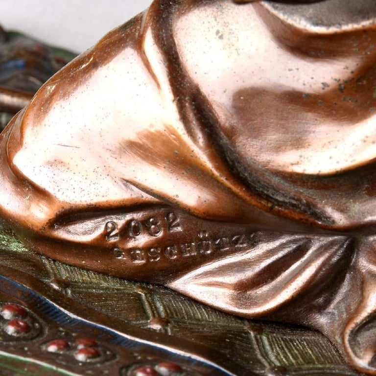 Austrian Cold Painted Bronze 'Praying Arab' by Franz Bergman For Sale 3