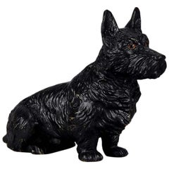 Austrian Cold Painted Bronze 'Seated Terrier' by Franz Bergman