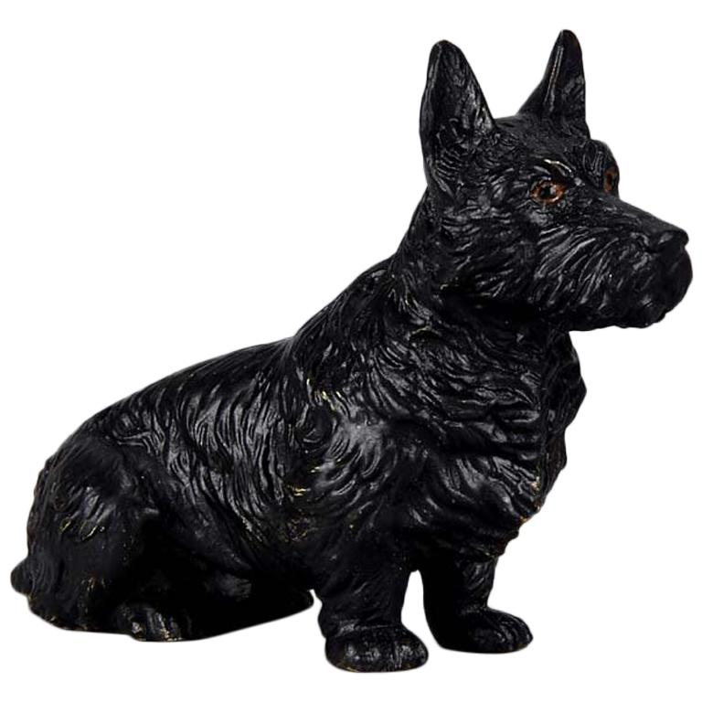 Austrian Cold Painted Bronze 'Seated Terrier' by Franz Bergman For Sale