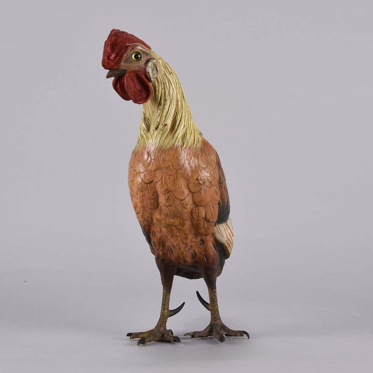 Other Austrian Cold Painted Bronze Study 'Cockerel' by Franz Bergman For Sale