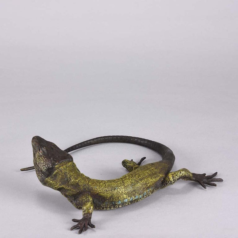 Other Austrian Cold Painted Bronze Study 'Lizard' by Franz Bergman For Sale