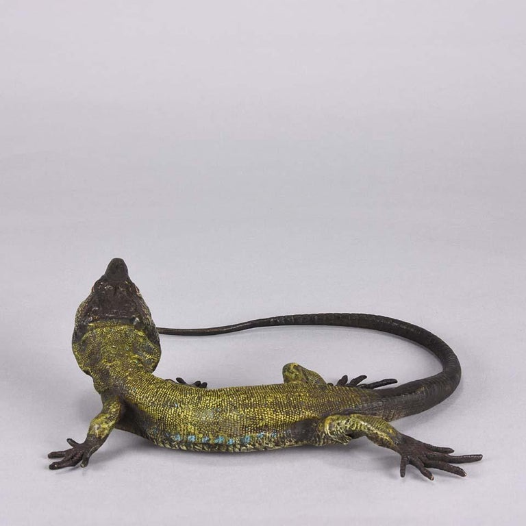 Cold-Painted Austrian Cold Painted Bronze Study 'Lizard' by Franz Bergman For Sale