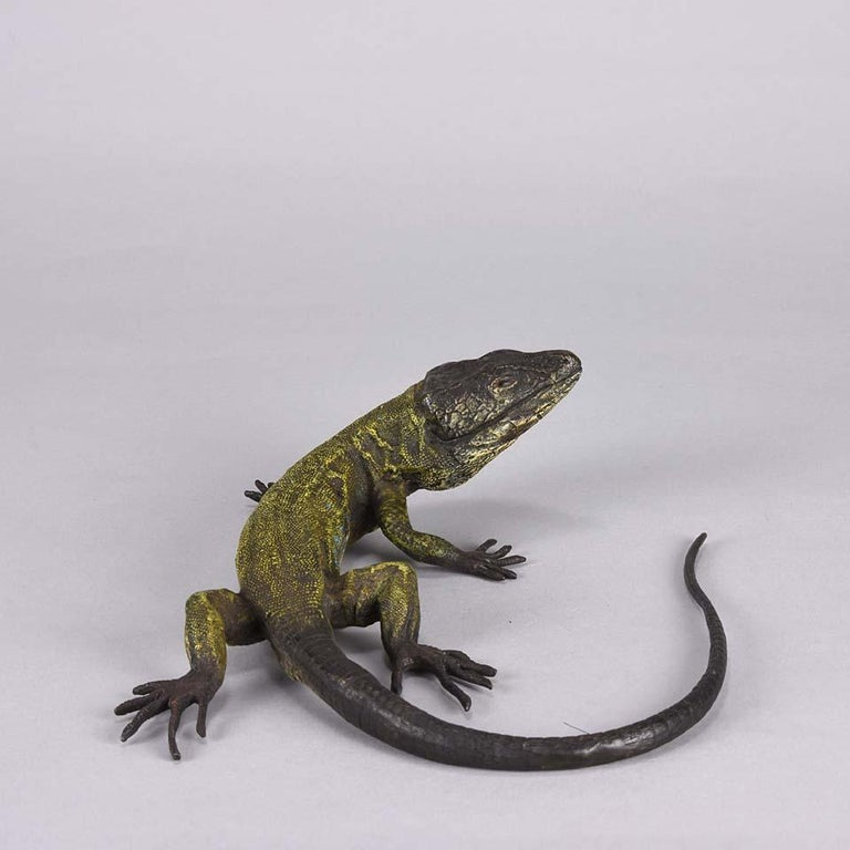 Early 20th Century Austrian Cold Painted Bronze Study 'Lizard' by Franz Bergman For Sale