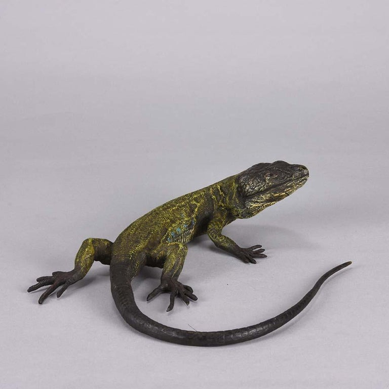 Austrian Cold Painted Bronze Study 'Lizard' by Franz Bergman For Sale 1