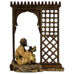 "Austrian Cold Painted Bronze Study ""Seated Arab in a Doorway"" by Franz Bergman"