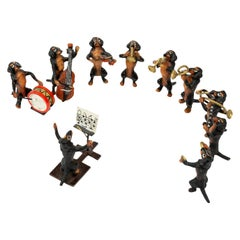 Austrian Cold Painted Bronze Ten-Piece Dachshund Band