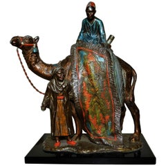 Austrian Cold Painted Spelter Metal Table Lighter with Arab Camel Scene