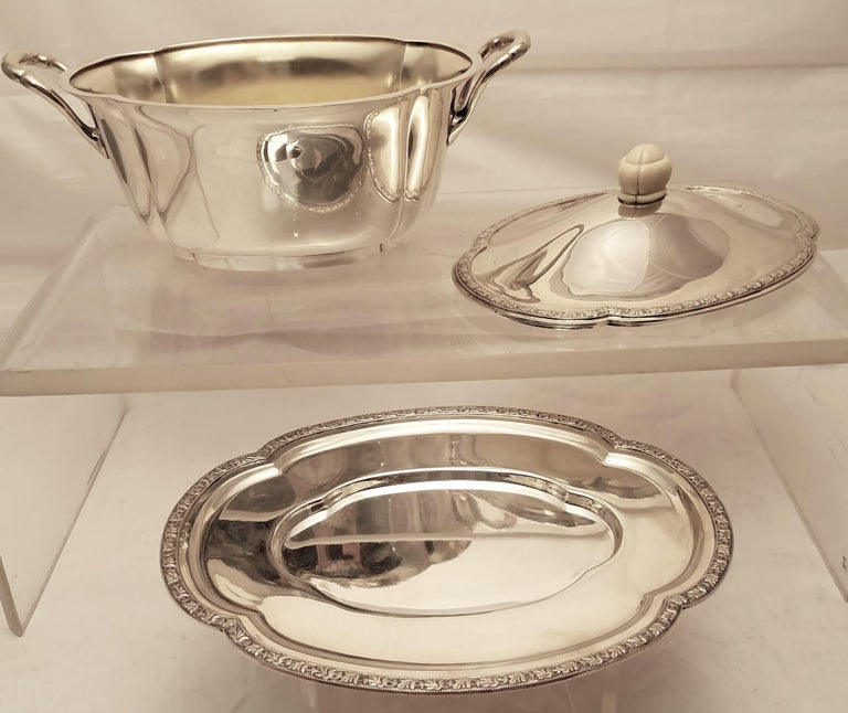 20th Century Austrian Continental Silver Tureen Covered Dish with Matching Tray Jugendstil For Sale