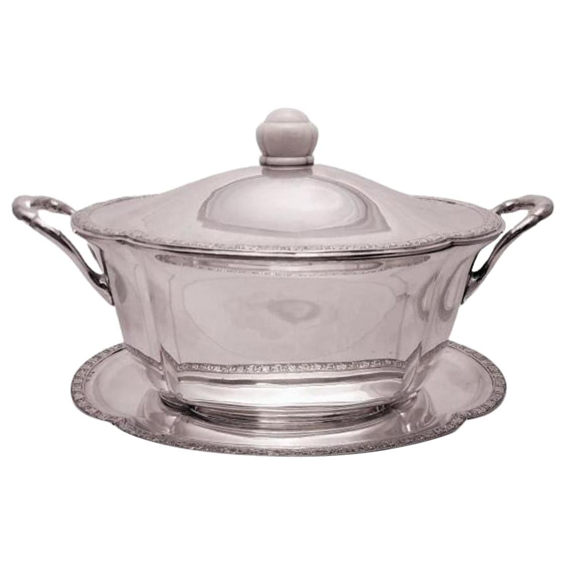 Austrian Continental Silver Tureen Covered Dish with Matching Tray Jugendstil