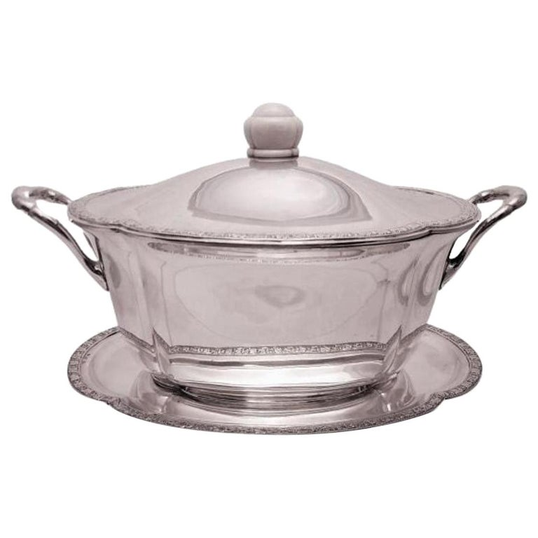 Austrian Continental Silver Tureen Covered Dish with Matching Tray Jugendstil For Sale