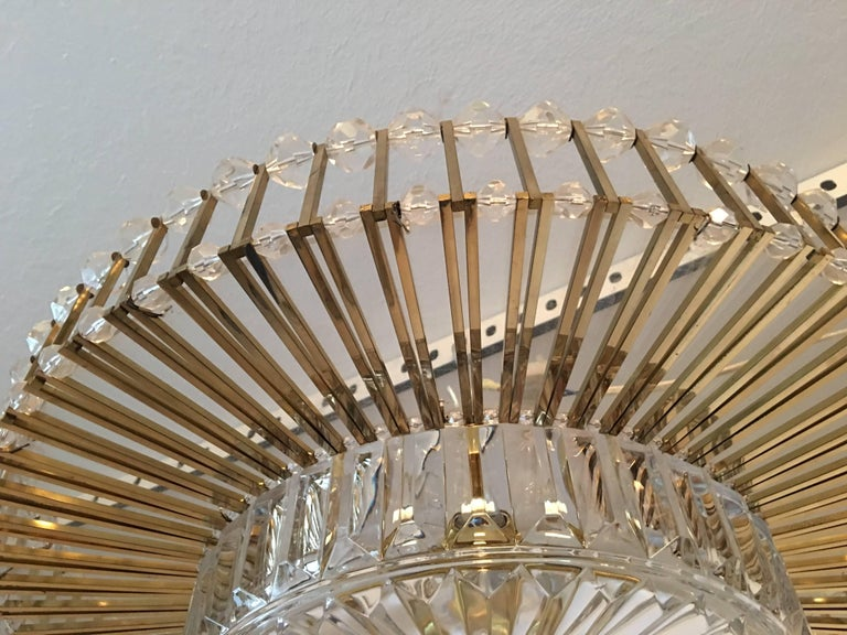 Austrian Crystal Glass Lucite and Gilt Brass Chandelier, Lobmeyr - SPECIAL OFFER For Sale 5