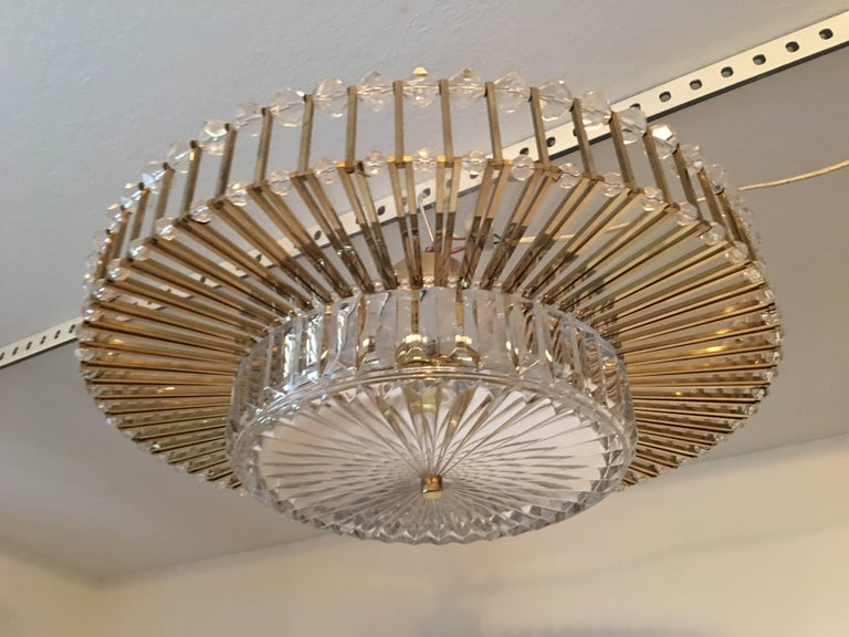 Austrian Crystal Glass Lucite and Gilt Brass Chandelier, Lobmeyr - SPECIAL OFFER For Sale 3