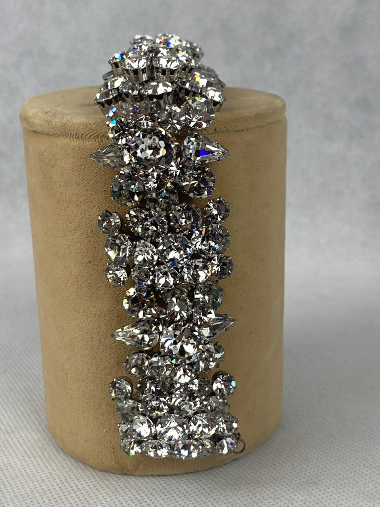 Mixed Cut  1950s Austrian Cut Crystal Bracelet, Schoffel & Company, For Sale