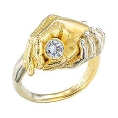 Austrian Diamond Two Tone Gold Fede Gimmel Ring
