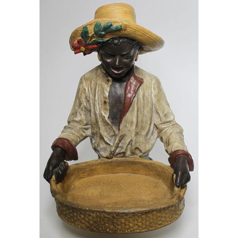 Folk Art Austrian Early 20th Century Polychromed Bust Figure African Girl Holding a Tray For Sale