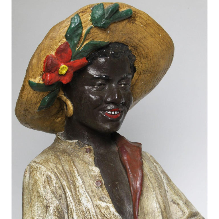 Plaster Austrian Early 20th Century Polychromed Bust Figure African Girl Holding a Tray For Sale