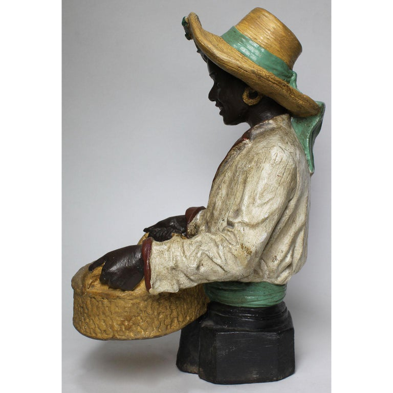 Austrian Early 20th Century Polychromed Bust Figure African Girl Holding a Tray For Sale 2