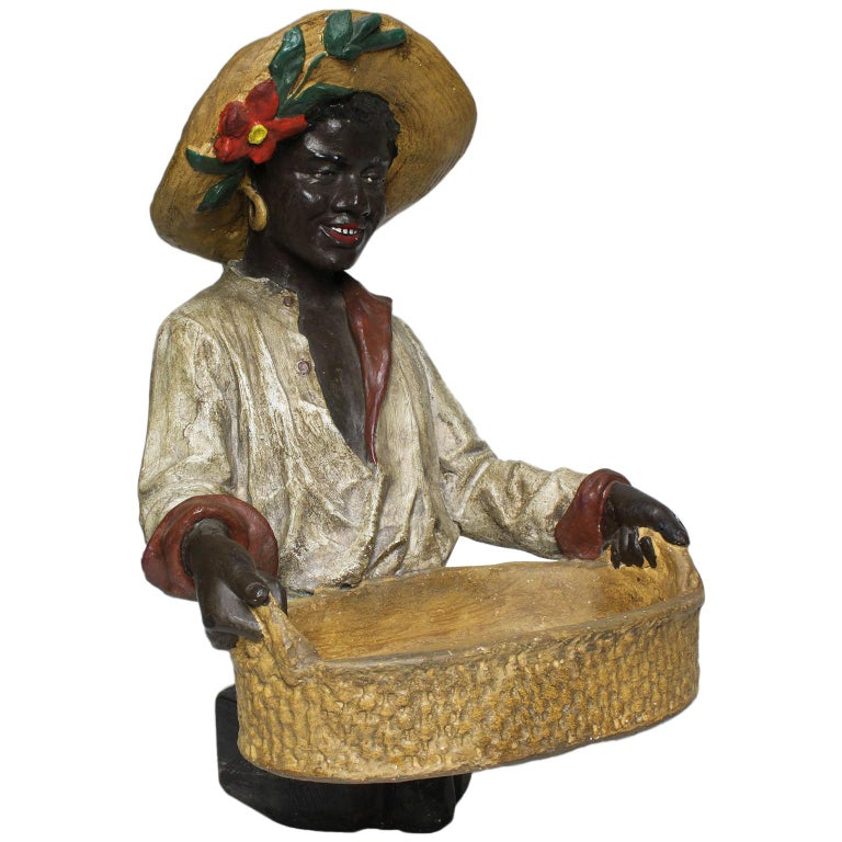 Austrian Early 20th Century Polychromed Bust Figure African Girl Holding a Tray For Sale