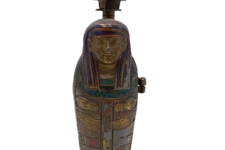 American Austrian Egyptian Revival Style Bronze Sarcophagus Metamorphic Table Lamp For Sale