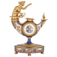 Austrian Enamel and Silver-Gilt Clock by Ludwig Politzer