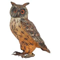 Austrian Franz Bergman Attributed Cold Painted Bronze Figure of an Owl