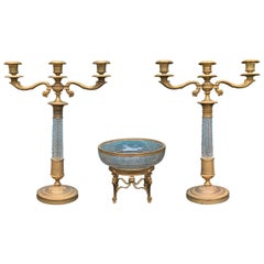 Austrian French Empire Style Cut Crystal & Gilt Bronze Candelabras & Center Bowl