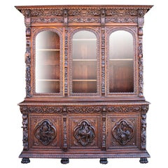 Austrian-German 19th Century Carved Walnut Black-Forest Hunt Credenza Bookcase