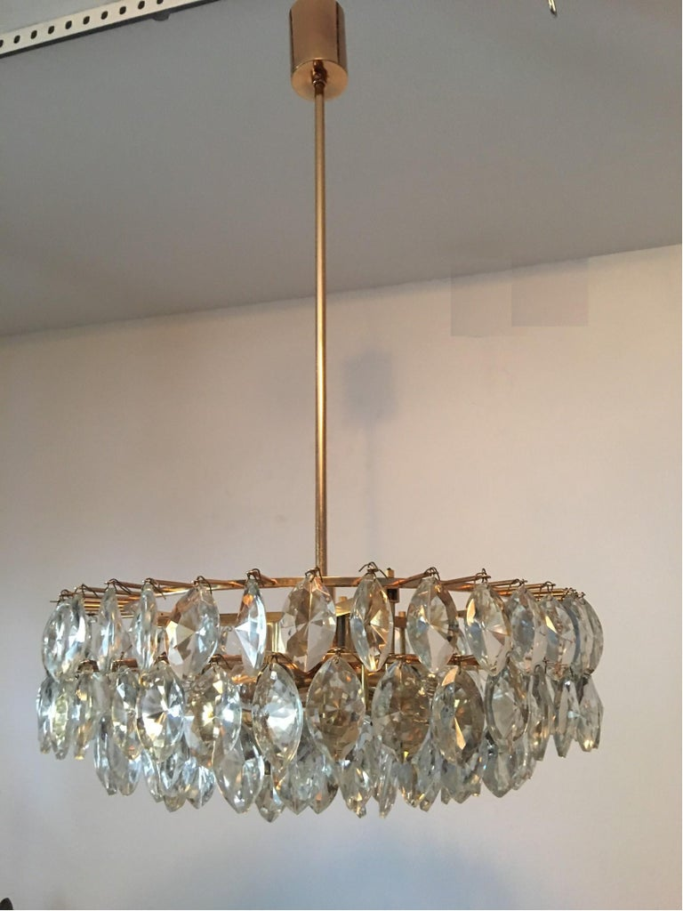 Austrian Gilded Five-Tiered Bakalowits Style Crystal Chandelier, 1970s 2