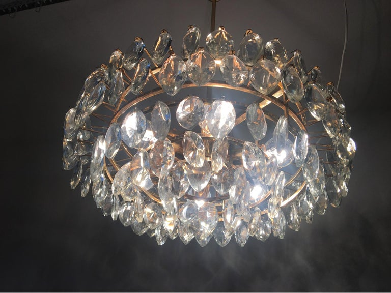 Austrian Gilded Five-Tiered Bakalowits Style Crystal Chandelier, 1970s 4