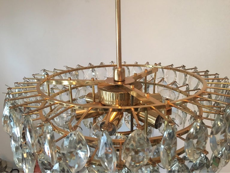 Austrian Gilded Five-Tiered Bakalowits Style Crystal Chandelier, 1970s 5