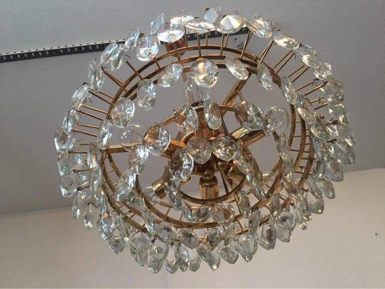 Austrian Gilded Five-Tiered Bakalowits Style Crystal Chandelier, 1970s 7