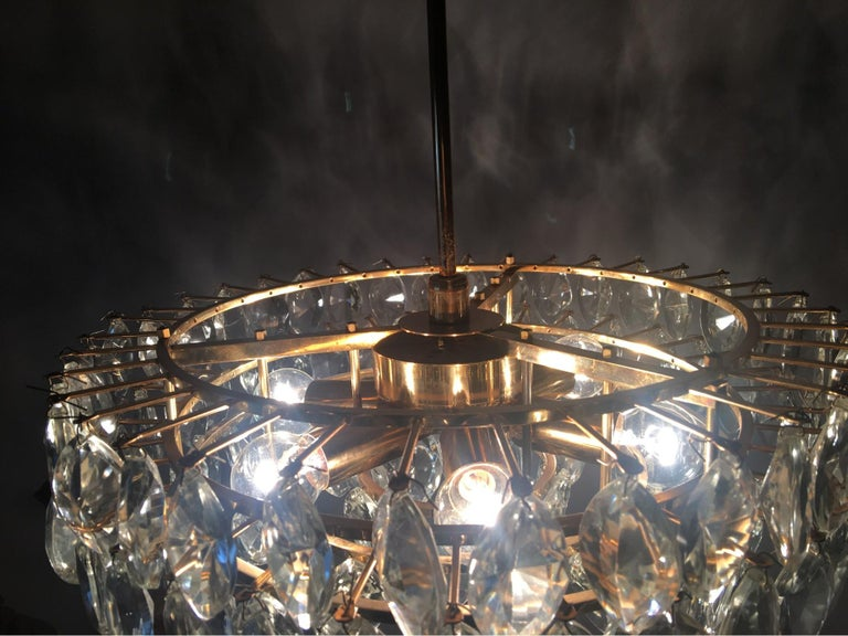 Austrian Gilded Five-Tiered Bakalowits Style Crystal Chandelier, 1970s 9