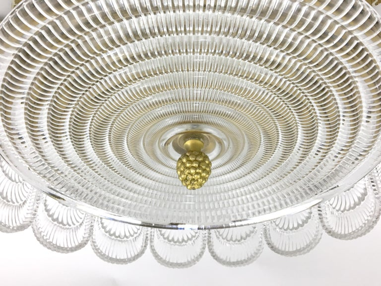 Austrian Glass and Brass Flush Mount Fixture In Excellent Condition For Sale In New York, NY