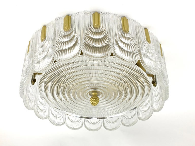 20th Century Austrian Glass and Brass Flush Mount Fixture For Sale