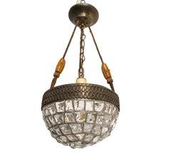 Austrian Glass Chunky Jewel Chandelier Pendant Light Fixture, circa 1920