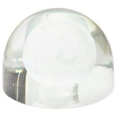 Austrian Glass Tennis Ball Paperweight Sculpture Desk Accessory