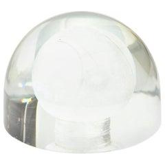 Glass Embedded Tennis Ball Paperweight Sculpture Desk Accessory