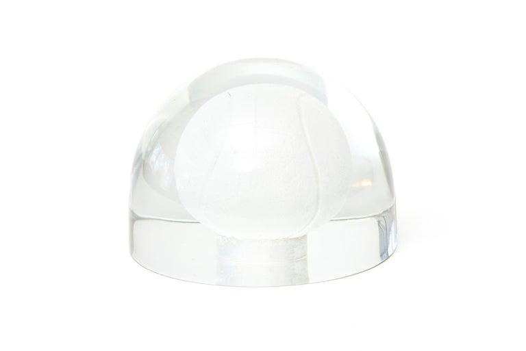 Mid-Century Modern Austrian Glass Tennis Ball Paperweight Sculpture For Sale