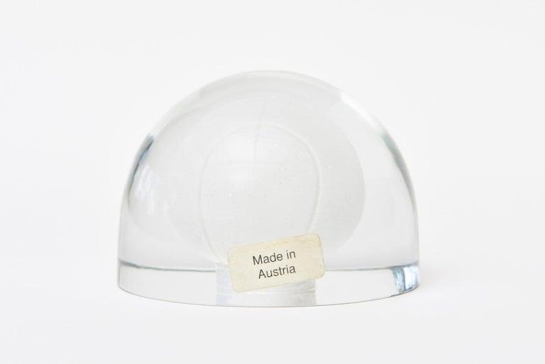 Mid-20th Century Austrian Glass Tennis Ball Paperweight Sculpture For Sale