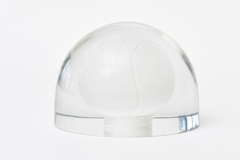 Blown Glass Austrian Glass Tennis Ball Paperweight Sculpture For Sale