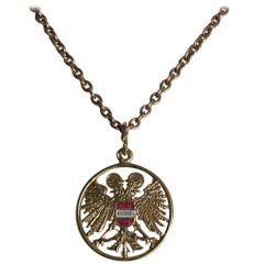 Austrian Gold and Enamel Habsburg Eagle Pendant, Early 20th Century