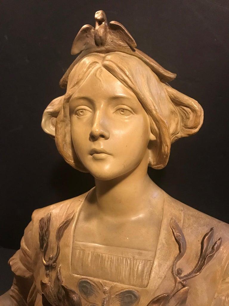 Polychromed Austrian Goldscheider Terracotta Bust of Lorely, circa 1900 For Sale